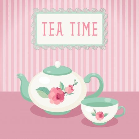 時間お茶ポットとカップ ストライプ背景