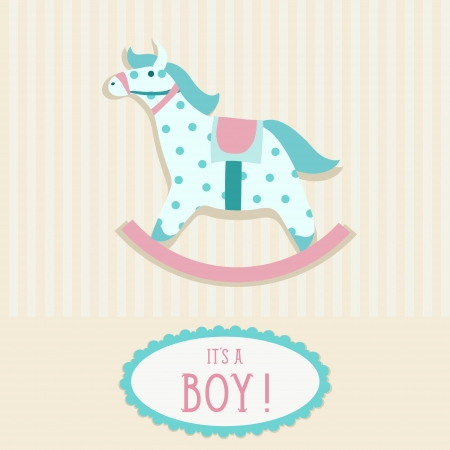 rocking: Baby shower invitation card template with rocking horse
