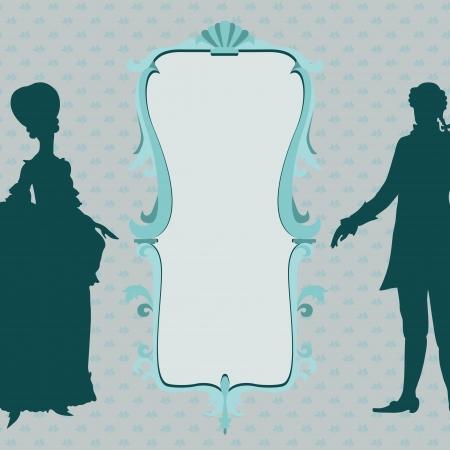 rococo style: Estilo rococ� marco ornamental con la mujer y el hombre silueta