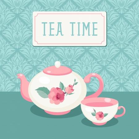 Tea time  Tea pot and cup against vntage wallpaper background Illustration