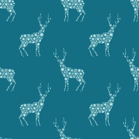 Winter holidays pattern with deer ornamental silhouettes Vector