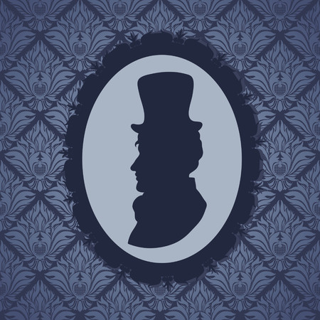 Man in top hat silhouette portrait against wallpapers background Vector
