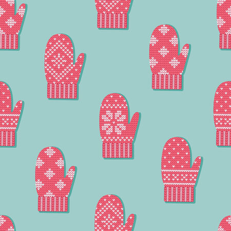 Red mittens with Scandinavian ornament seamless pattern Illustration