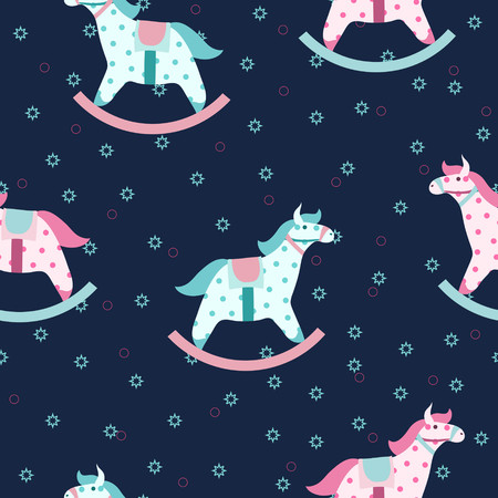 Colorful children pattern with rocking horses Vector