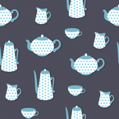 Retro seamless pattern with polka dot tea set Vector