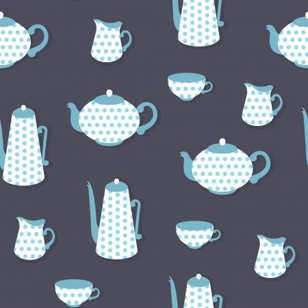 blue white kitchen: Retro seamless pattern with polka dot tea set Illustration