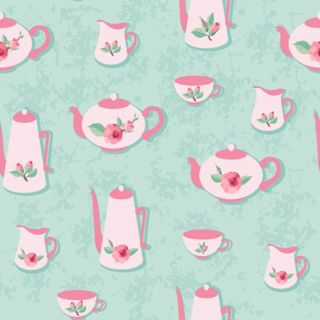 Retro seamless pattern with rose decorated tea set Vector