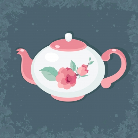 Tea time  Tea pot against dark vntage background Vector