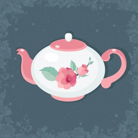 white party: Tijd van de thee pot tegen donkere vntage achtergrond
