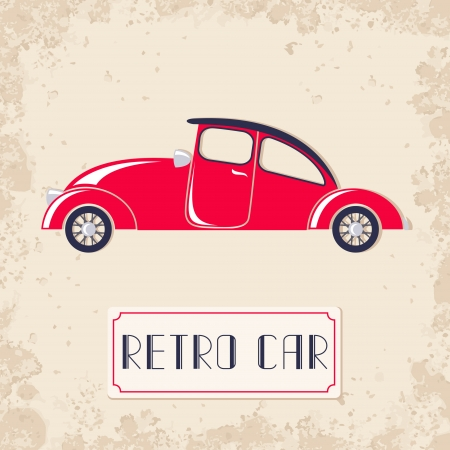 roadster: Vintage style vector illustration with red retro car
