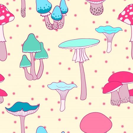 Colorful mushrooms seamless vector pattern Vector