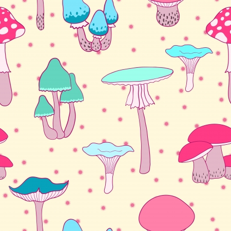 toxic mushroom: Colorful mushrooms seamless vector pattern Illustration
