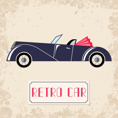 Vintage style illustration with dark blue retro car Vector