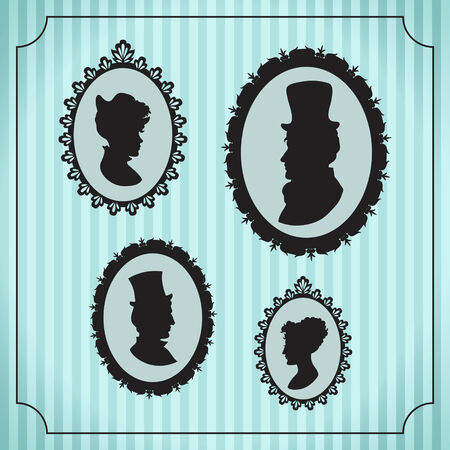 Silhouette portraits of men and women in vintage frames against striped  Vector