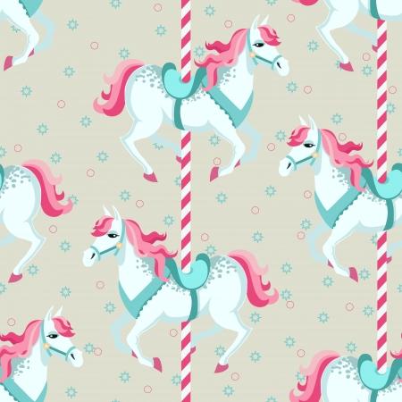 carousel: Carousel horses  Children seamless vector background
