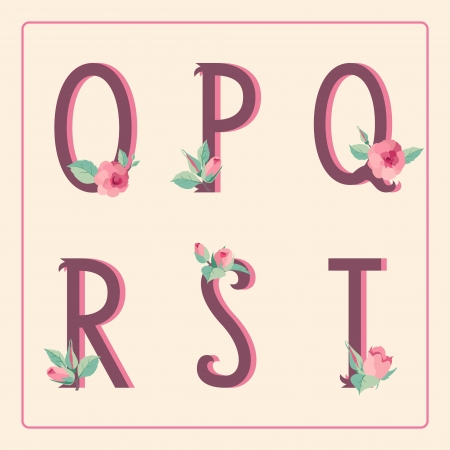 Vintage style alphabet letters with rose flowers