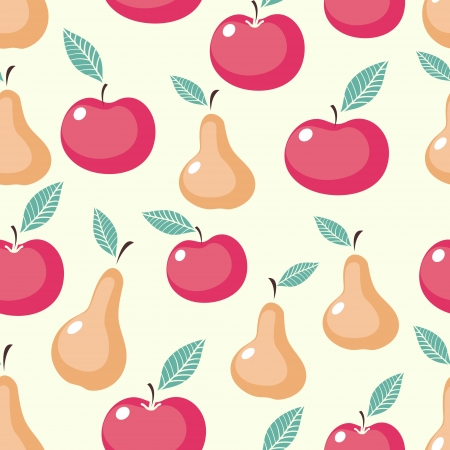Apples and pears seamless pattern  Colorful vector background with fruits Vector