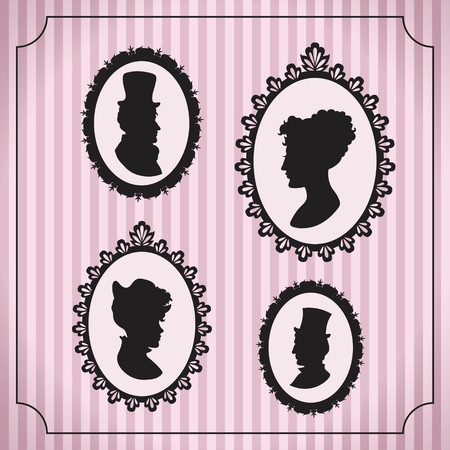 Silhouette portraits of men and women in vintage frames against striped background Vector