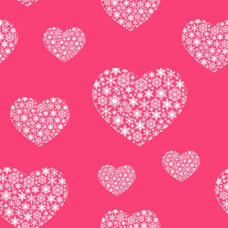 Beautiful Valentine s Day background with snowflakes hearts Vector