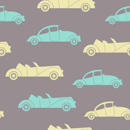 Retro cars seamless vector background  Children illustration Vector