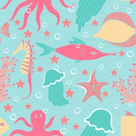 Sea world seamless pattern  Cartoon style colorful children illustration Vector