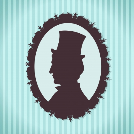 Man in top hat silhouette portrait against striped background Vector