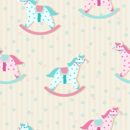 Colorful children pattern with rocking horses in pastel colors Vector