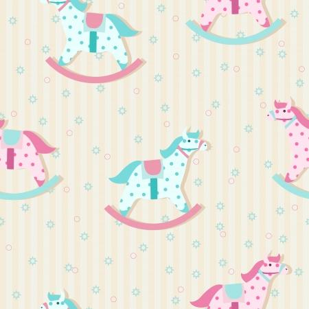 Patrón de los niños coloridos con caballos de oscilación en colores pastel