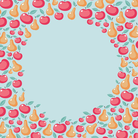 Beautiful background with round frame made of apples and pears Vector
