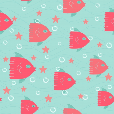Colorful vector seamless pattern with red fishes Vector