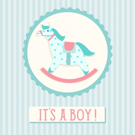 Baby shower invitation card template with rocking horse