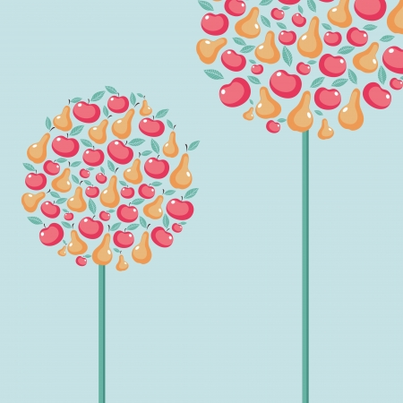 Beautiful vector with fruit trees Vector