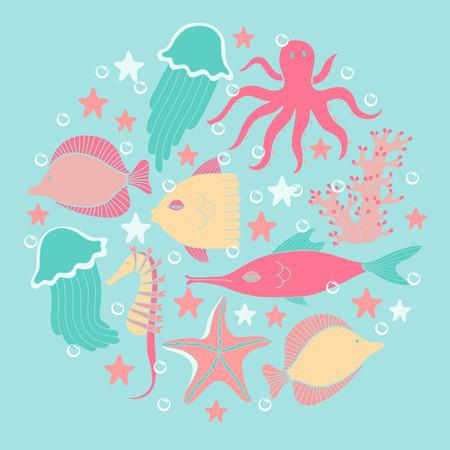 Marine animals set  Colorful children vector illustration Vector