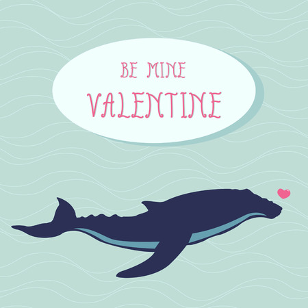 Blue whale with heart  Valentine s day greeting card Vector