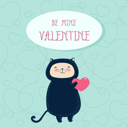 cat s: Funny cat with heart  Valentine s day greeting card