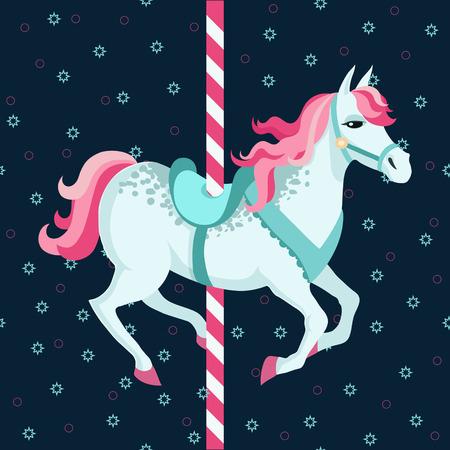 horse saddle: Carosello di cavalli su sfondo scuro Illustrazione vettoriale colorato