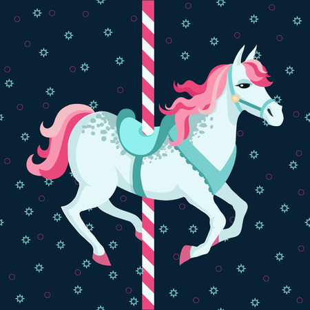 Carousel horse against dark background  Colorful vector illustration