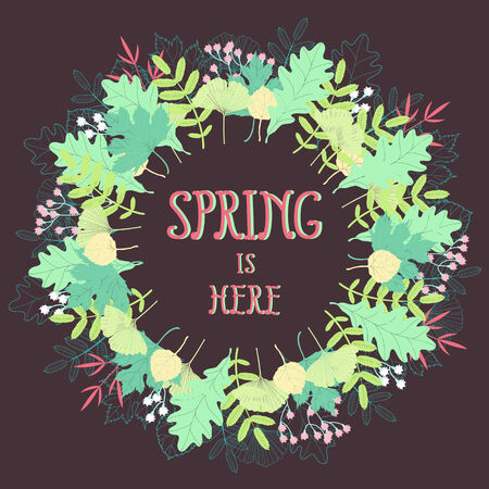 Spring floral vector background  Beautiful wreath in fresh colors Vector