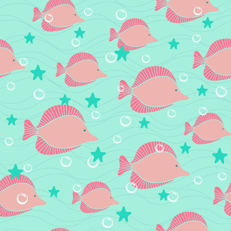 Colorful pink fishes seamless vector background Vector