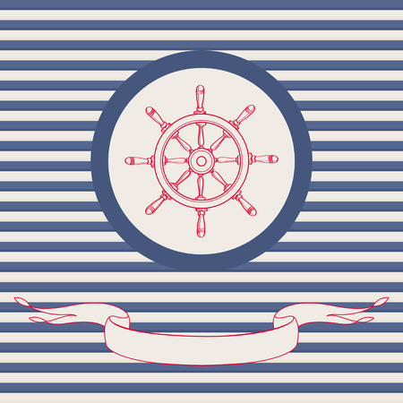 Sea theme vector card template with steering wheel