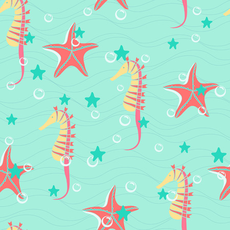 Colorful seahorses and starfishes seamless vector background Vector
