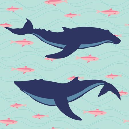 flipper: Two whales silhouettes  Marine life illustration