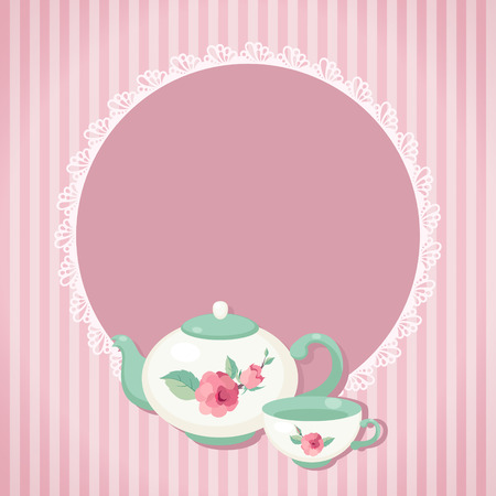 Tea time  Tea pot and cup against striped background  Vector