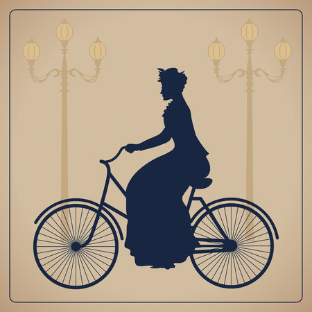Woman riding bicycle  Vintage vector illustration Vector