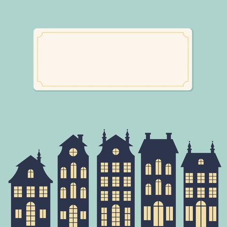 Holland houses silhouettes  Dutch cityscape card