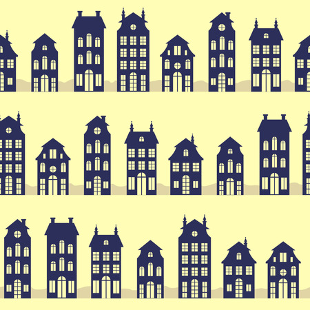 dutch landmark: Holland houses silhouettes seamless pattern