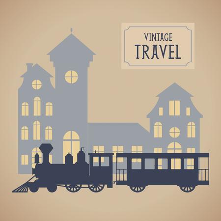 locomotora: Ilustración vectorial vendimia con el tren de vapor Vectores