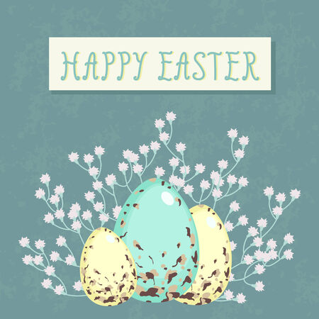 blue egg: Easter greeting card with colorful eggs end flowers