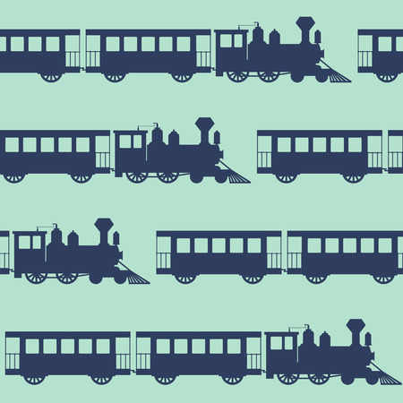 Vintage vector seamless background with steam trains Illustration