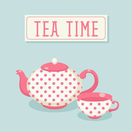 Tea time  Polka-dot tea pot and cup  Vector